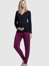 4 Piece Maternity & Nursing Lounge Outfit - Black & Burgundy side
