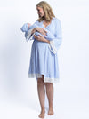 Hospital Pack: Nursing Dress + Robe + Baby Pouch - Blue Stripes
