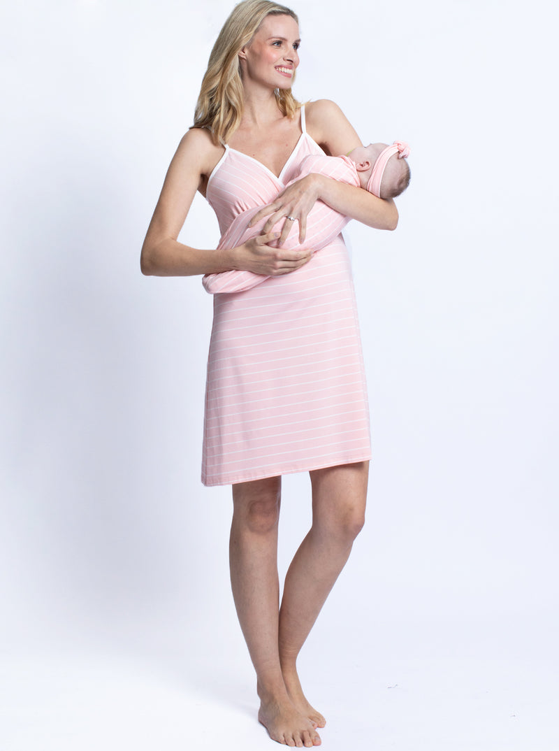 3 Piece Set Nursing Dress + Baby Pouch & Beanie - Pink Stripes