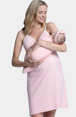 Hospital Pack: Nursing Dress + Robe + Baby Pouch - Pink Stripes