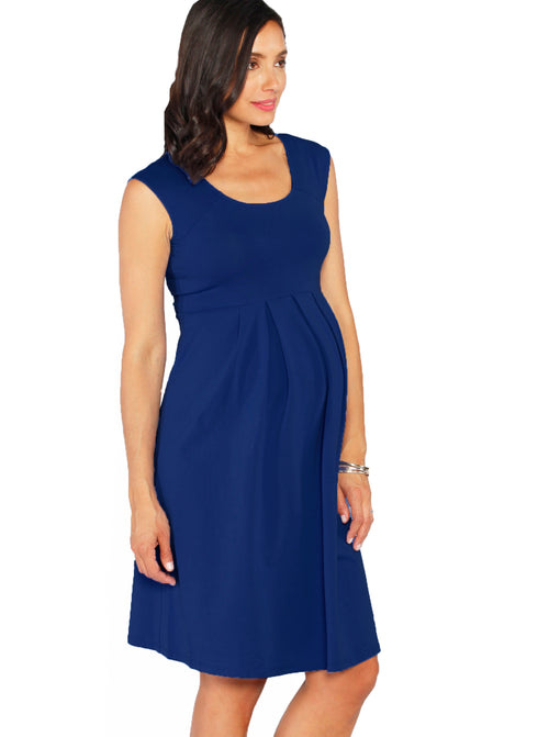 Lucy Maternity Cap Sleeve Little Cotton Dress - Blue