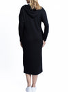Maternity Oversize Hoodie Button Nursing Dress - Black