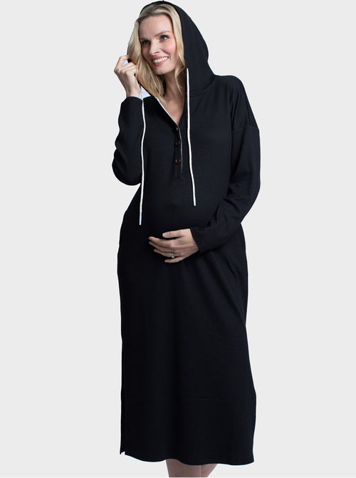 Maternity Oversize Hoodie Button Nursing Dress - Black side