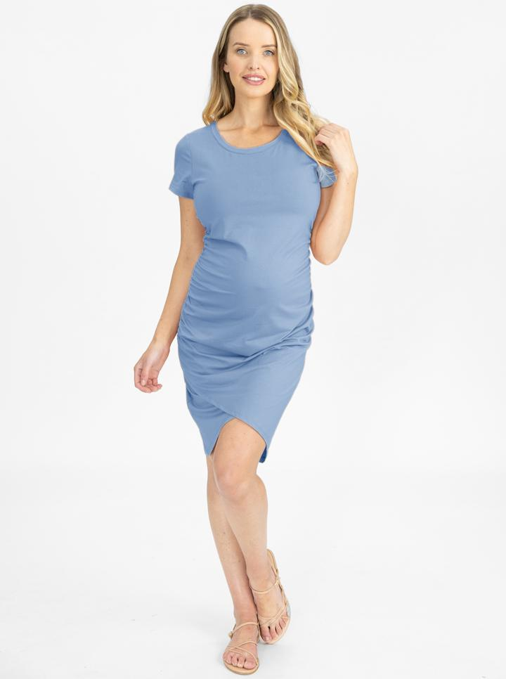 Maternity Short Sleeve Summer Dress in Blue