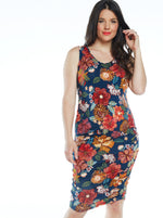Maternity Bodycon Print Dress - Red Floral