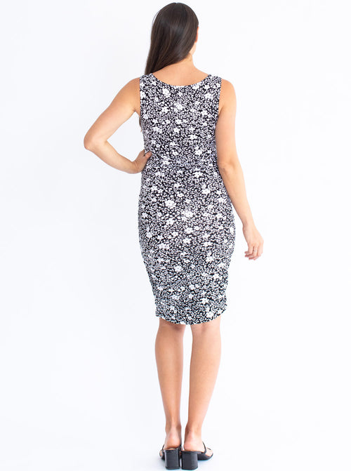 Maternity Bodycon Print Dress - Black & White Floral