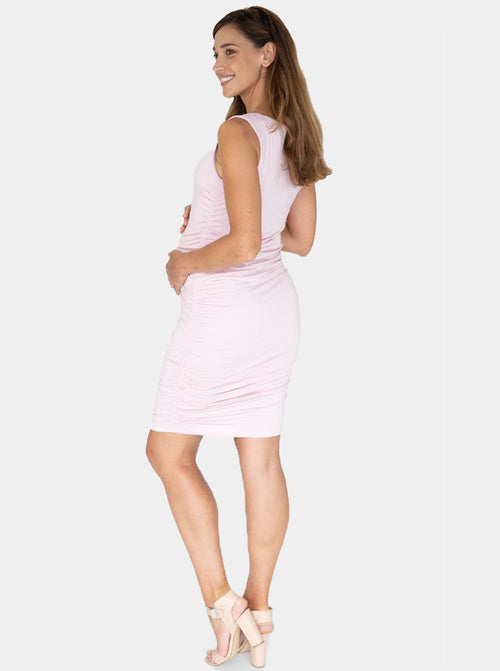 Body Hugging Maternity Dress in Baby Pink back
