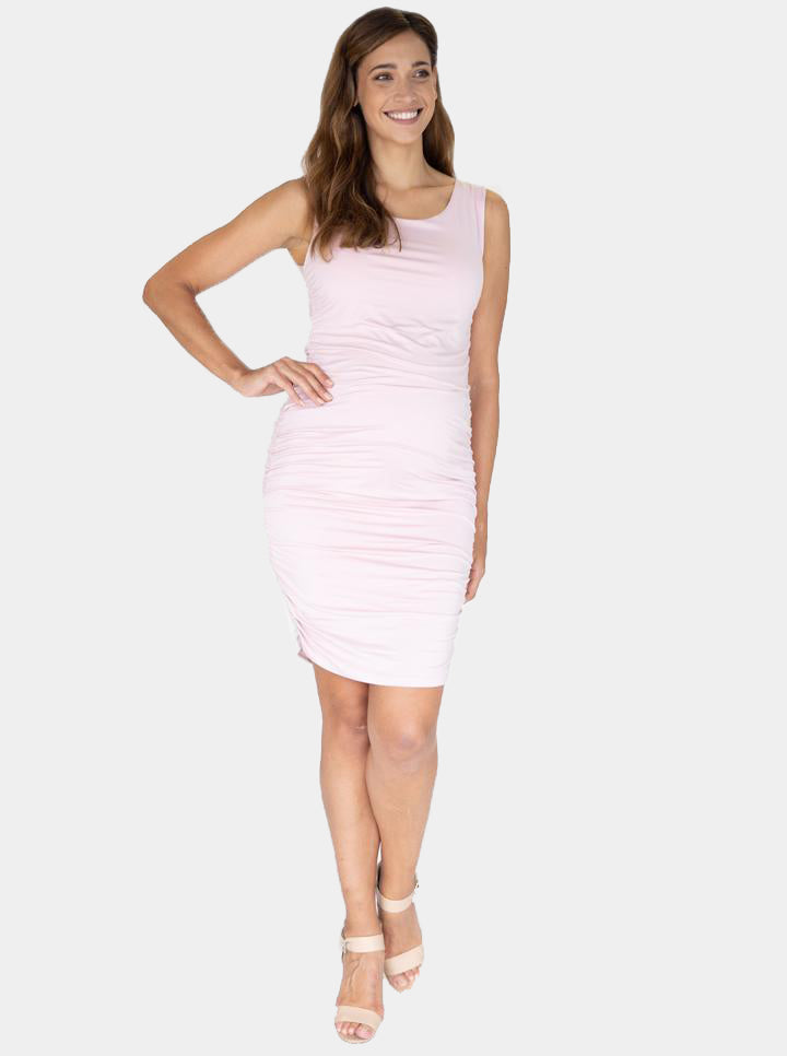 Body Hugging Maternity Dress in Baby Pink front