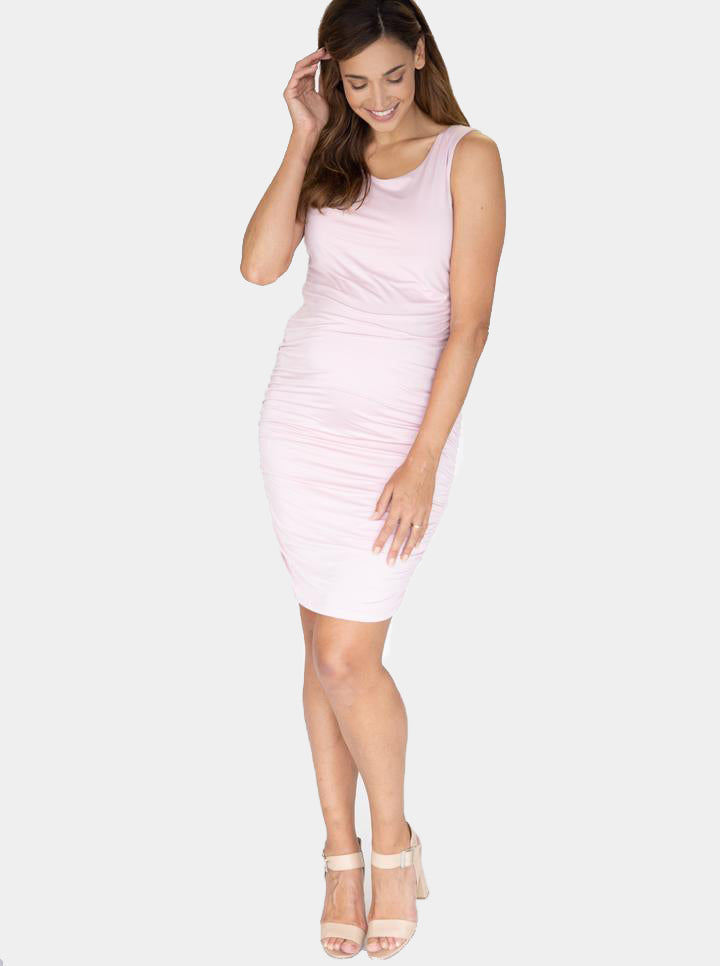 Body Hugging Maternity Dress in Baby Pink