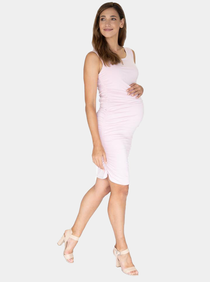 Body Hugging Maternity Dress in Baby Pink side