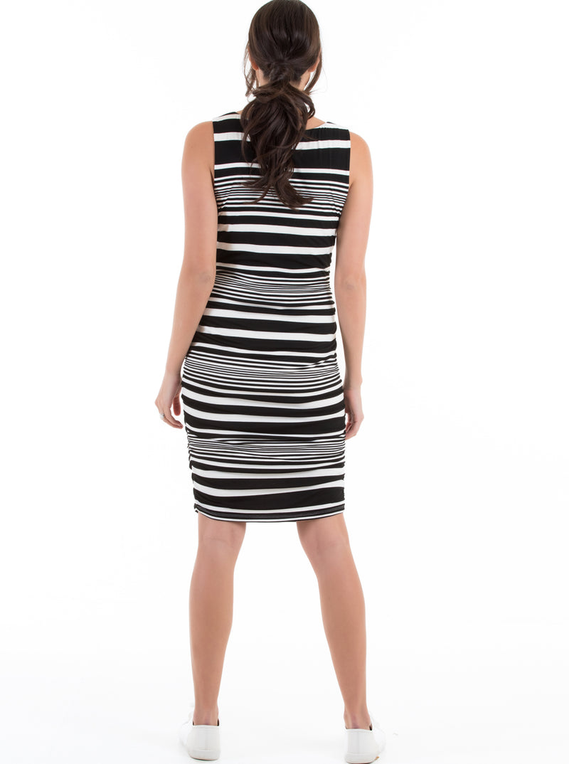 Maternity Bodycon Sleeveless Dress - Black Stripes