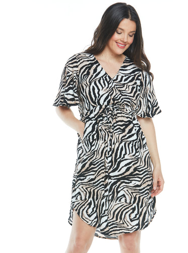 Maternity Bella Short Sleeve Dress - Animal Print