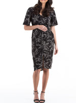 Maternity Drawstring Nursing Midi Dress - Black Leaf Print
