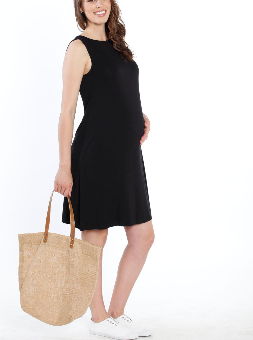 Maternity Shift Party Bow Details Dress - Black