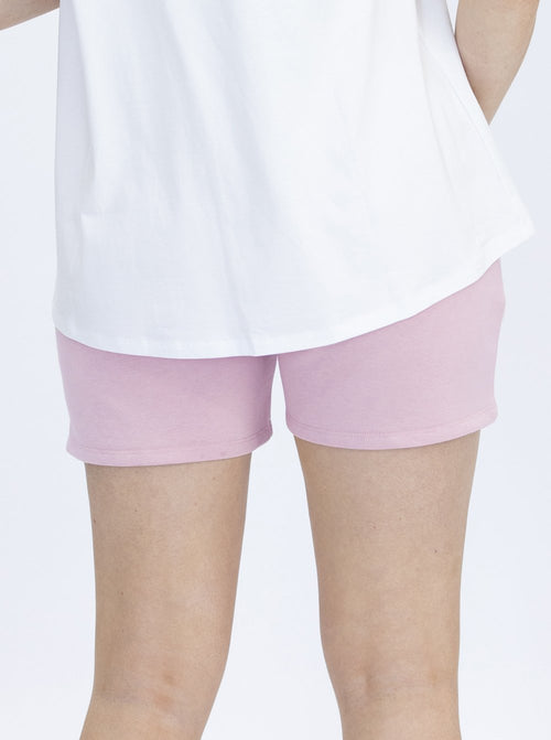 Cotton Maternity Summer Shorts in Lilac