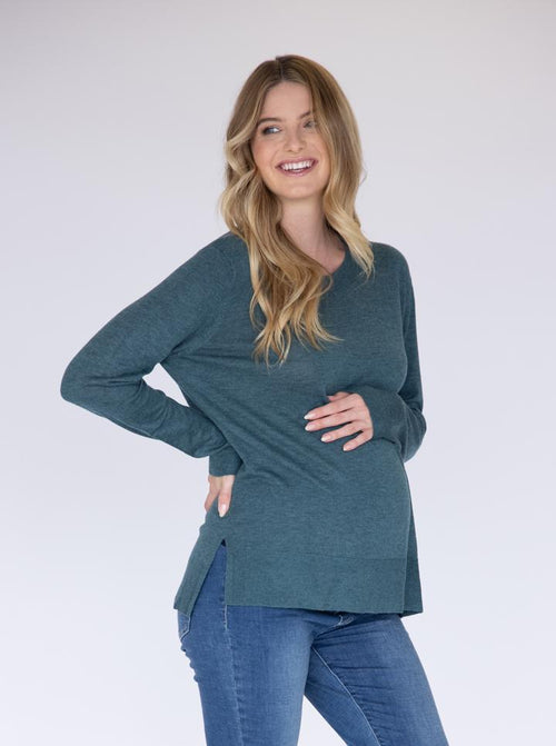 Maternity Oversize Wool Knit Jumper - Green side