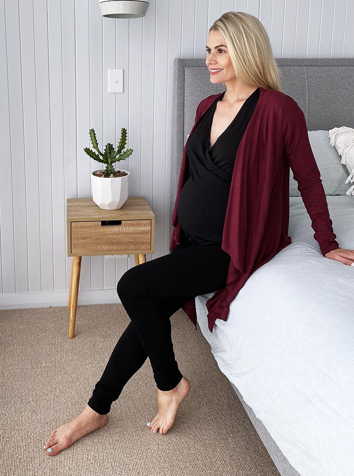 Maternity Waterfall Long Cardigan - Red Burgundy main