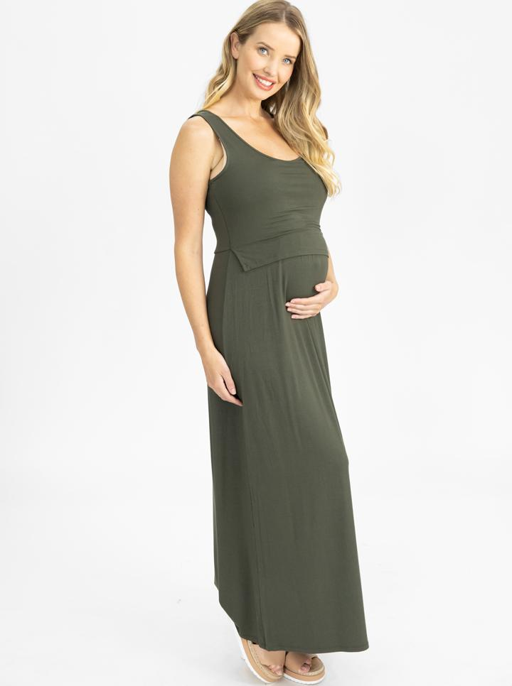 Maternity and Nursing  Maxi Dress in Khaki main