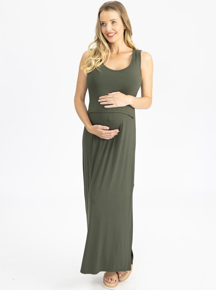 Maternity and Nursing  Maxi Dress in Khaki front