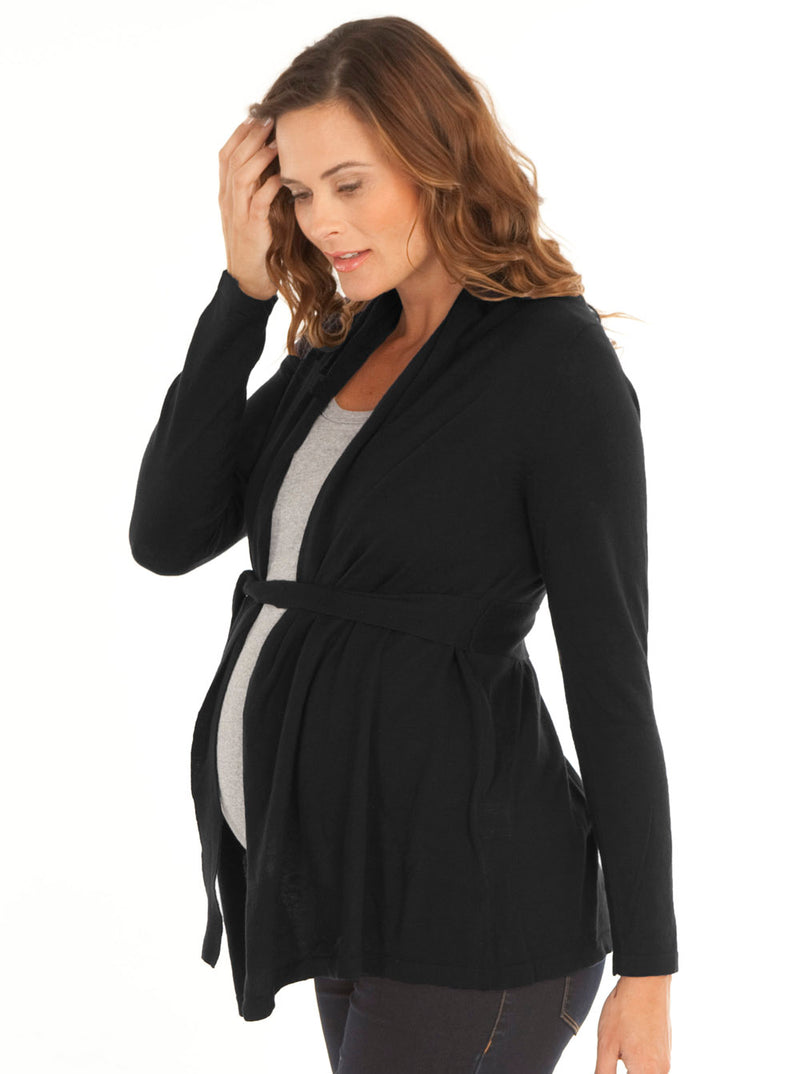 Maternity Roll Collar Knitted Waist Tie Cardigan - Black