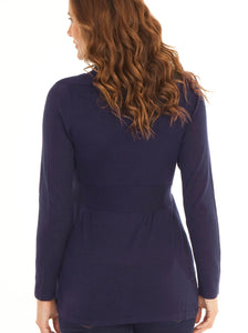 Maternity Roll Collar Knitted Waist Tie Cardigan - French Navy