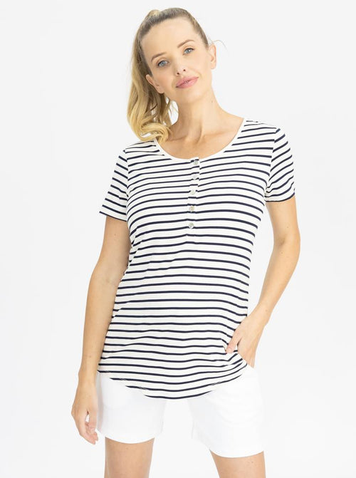 Maternity Nursing Tee with Button Front - Navy Stripes
