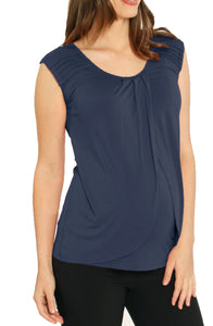 Cap Sleeve Nursing Top with Petal Front in Navy
