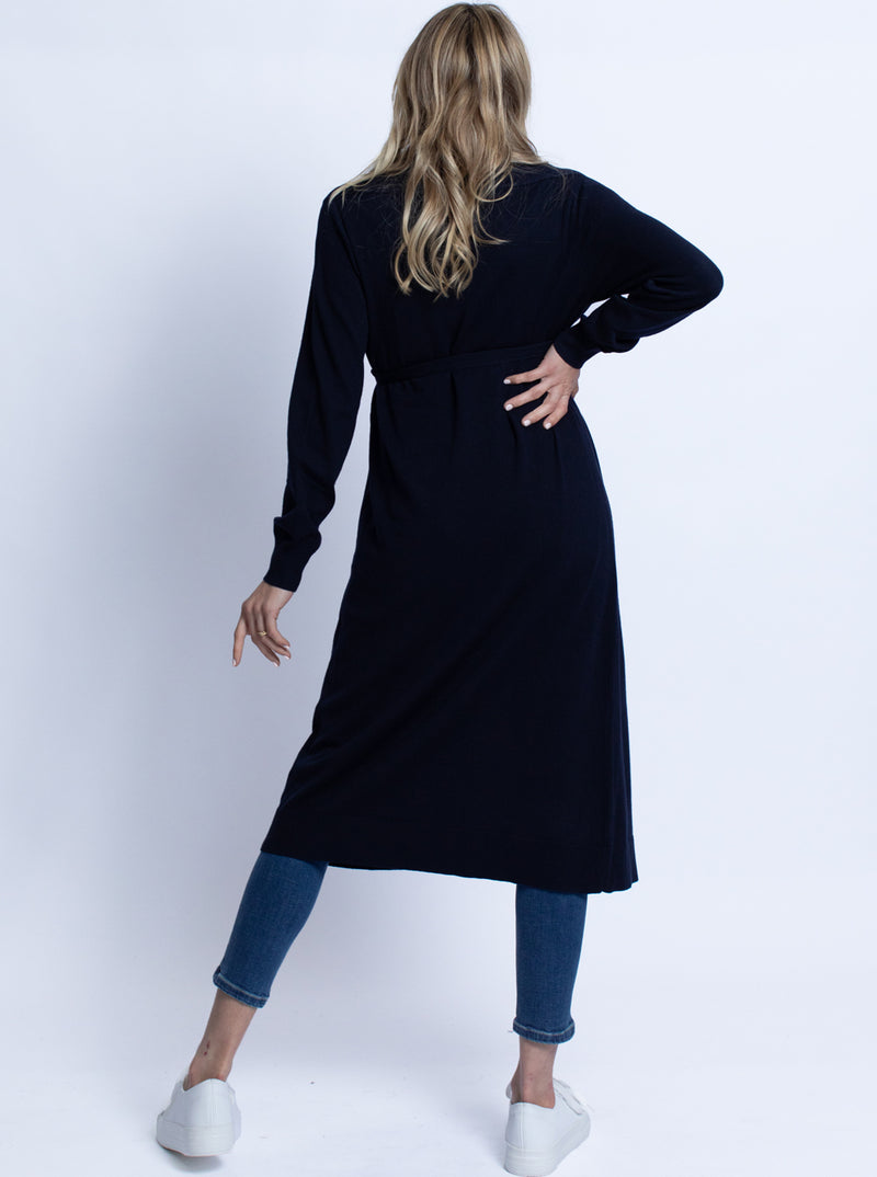 Maternity Long Knit Wool Blend Cardigan - Navy
