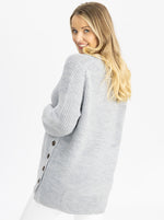 Maternity Oversized Luxury Wool Knit Nursing Jumper grey