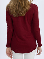 Long Sleeve Maternity and Nursing Top - Red back
