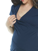 Maternity & Nursing Crossover Short Sleeve Tee Top