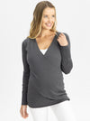 Maternity Merino Wool Knit Long Sleeve Top - Charcoal