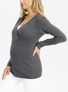 Maternity Merino Wool Knit Long Sleeve Top - Charcoal side image