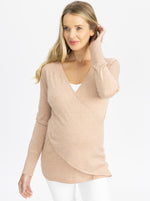 Maternity Merino Wool Knit Long Sleeve Top pink