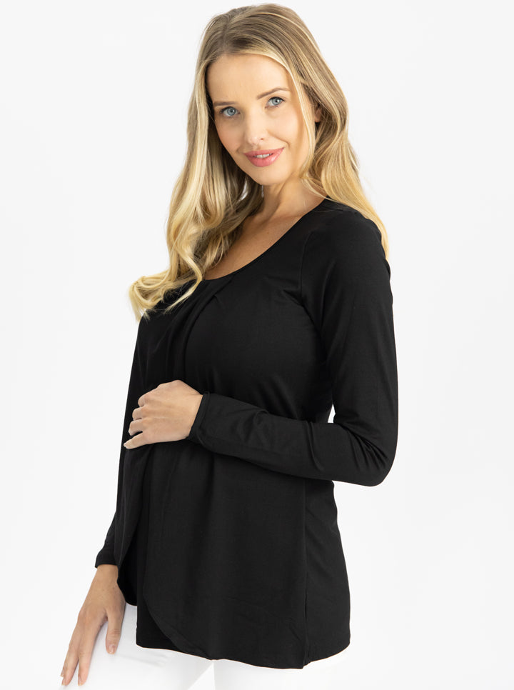 Long Sleeve Maternity and Nursing Top in Black side