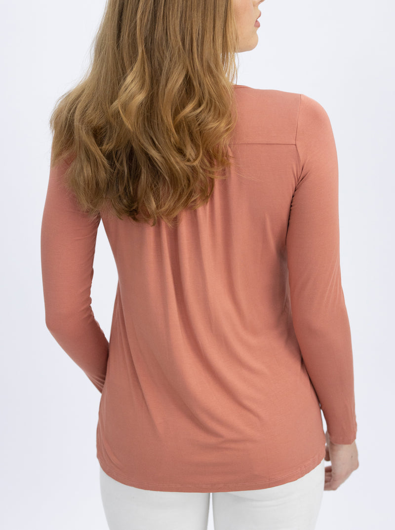 Long Sleeve Maternity and Nursing Top in Peach and Purple