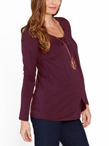 Petal Front Long Sleeve Nursing Top - Deep Plum