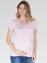 Petal Front Short Sleeve Nursing Top in Pink
