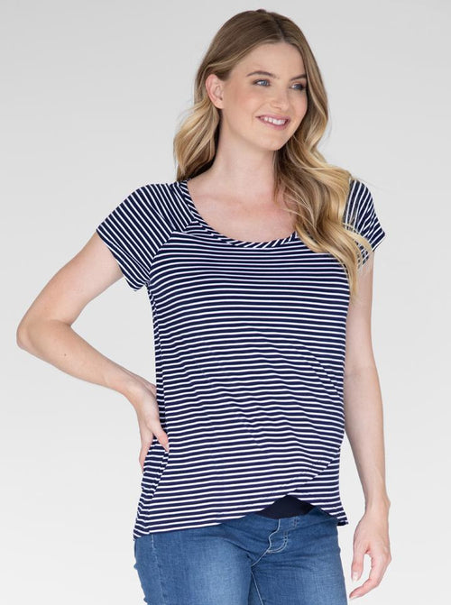 Maternity Petal Front Nursing Top in Navy Stripes front