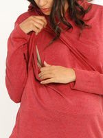 Nursing Hoodie Breastfeeding Jumper Top - Red