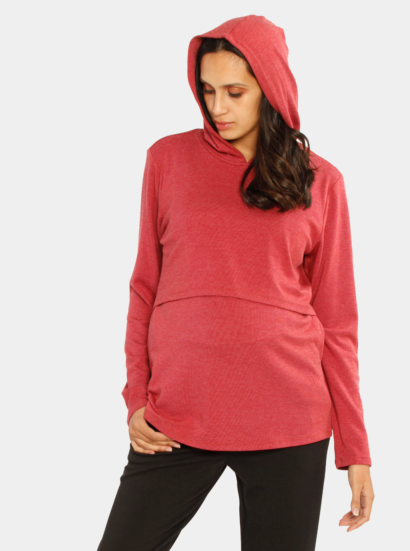 Breastfeeding Hoodie in Black, Gray and Red