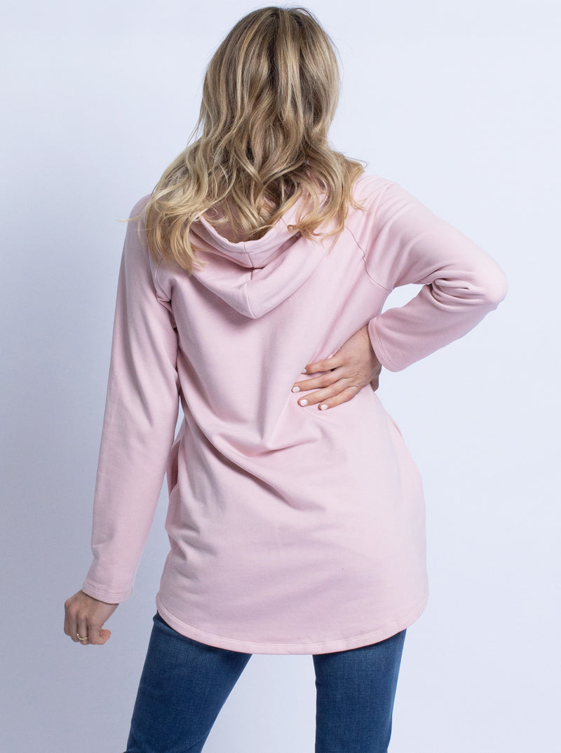 Nursing Hoodie Breastfeeding Jumper Top -Pink