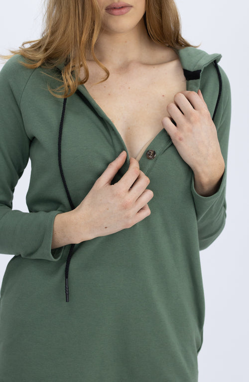 Nursing Hoodie Breastfeeding Jumper Top - Khaki