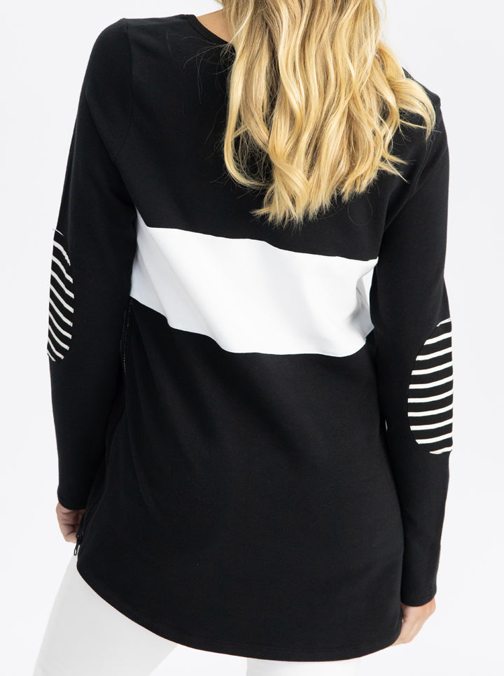 Maternity and Nursing Long Sleeve T-Shirt in Black and White