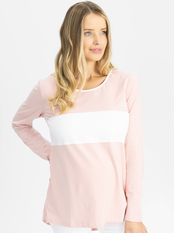 Maternity and Nursing Long Sleeve T-Shirt in Pink and White