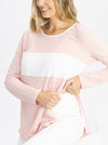 Maternity and Nursing Long Sleeve T-Shirt in Pink and White nursing