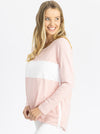 Maternity and Nursing Long Sleeve T-Shirt in Pink and White side