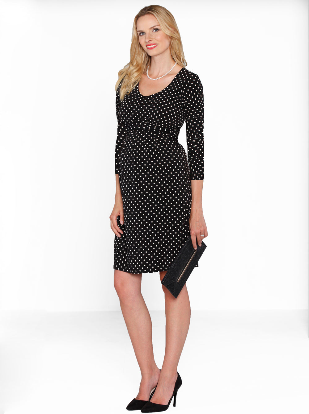 Maternity Busy Mommy Nursing Dress in Black Dots