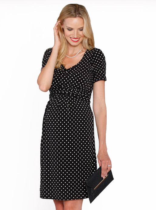 Busy Mommy Nursing Short Sleeve Dress in Black & White Dots