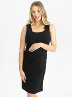 Classic Cotton Nursing Tank Dress in Black